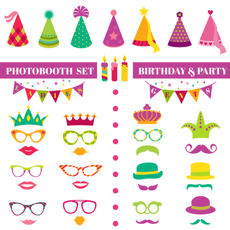 photo of accessories: Photobooth Birthday and Party Set - glasses, hats, crowns, masks, lips, mustaches - in vector Illustration