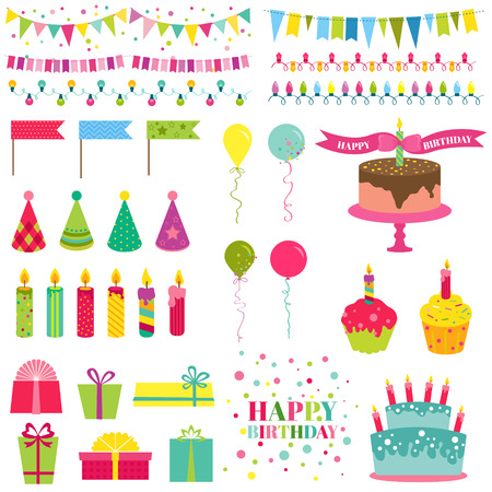 Happy Birthday and Party Set - for design and scrapbook - in vector Vector