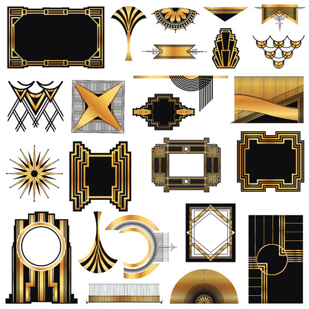 art deco border: Art Deco Vintage frames and design elements Illustration