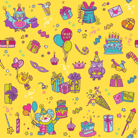 Birthday Celebration Seamless Pattern Vector