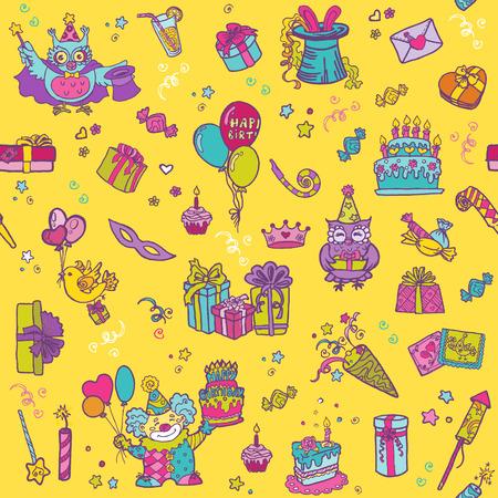 celebracion cumplea�os: Celebraci�n del cumplea�os Seamless Pattern Vectores