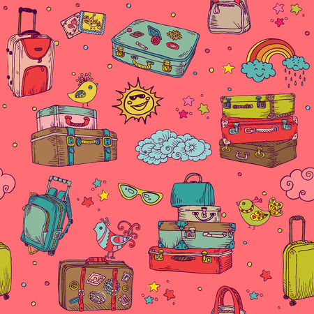 hand made: Vintage Hand drawn Suitcases Background