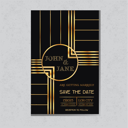 art deco background: Save the Date  - Wedding Invitation Card in Art Deco Design