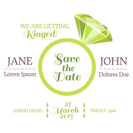 engagement ring: Save the Date  - Wedding Invitation Card with Diamond Ring Illustration