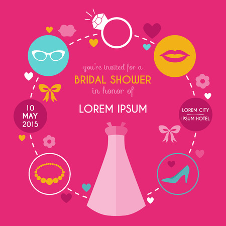 Wedding Bridal Shower Card - with place for your text  Vector