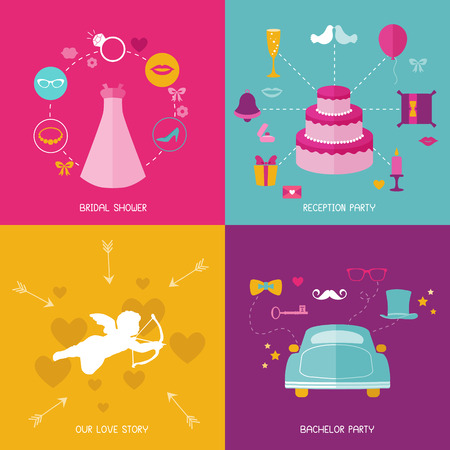 Wedding Party Set - Photobooth Props - glasses, hats, mustaches, elements. Vector