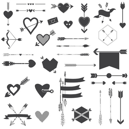 Hearts and Arrows Set - for Valentines Day, Wedding, Design, Scrapbook. Vector