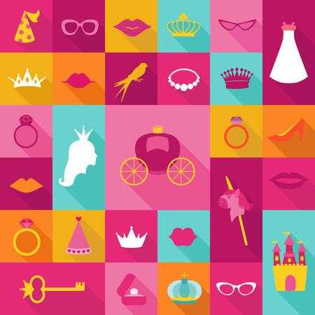 Princess Flat Icons Set - crown, lips, rings, hats. Vector