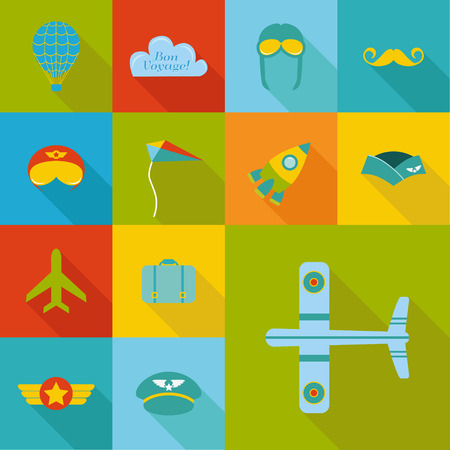 Airplane Party set - Flat Icons Design. Vector