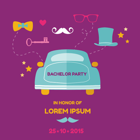 Bachelor Party Card - Wedding Invitation Card - with place for your text Stock Vector - 27304556