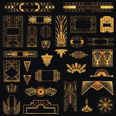 Art Deco Marcos Vintage y Elementos de Diseño
