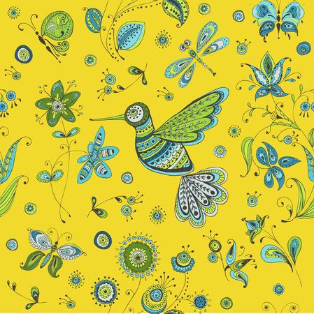 Spring & Summer Doodles - bird, butterflies, flowers - hand drawn  Vector