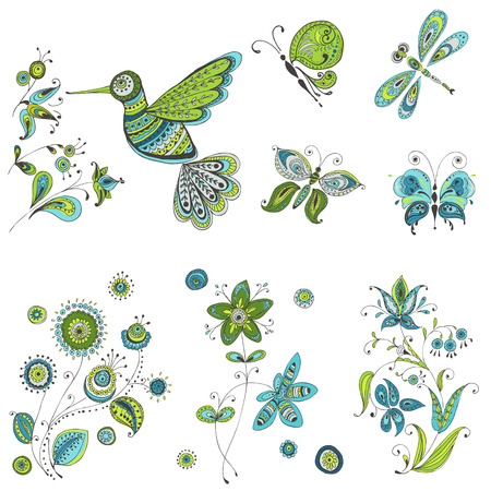 Spring & Summer Doodles - bird, butterflies, flowers - hand drawn  Vector