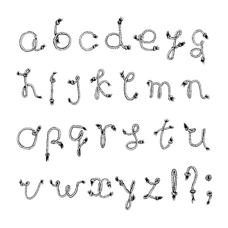 Hand drawn alphabet - Rope or String . Handwritten font.  Illustration
