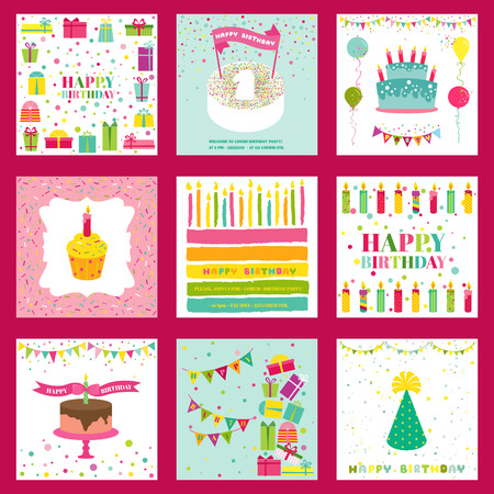 Set of Happy Birthday and Party Invitation Card - with place for your text Vector