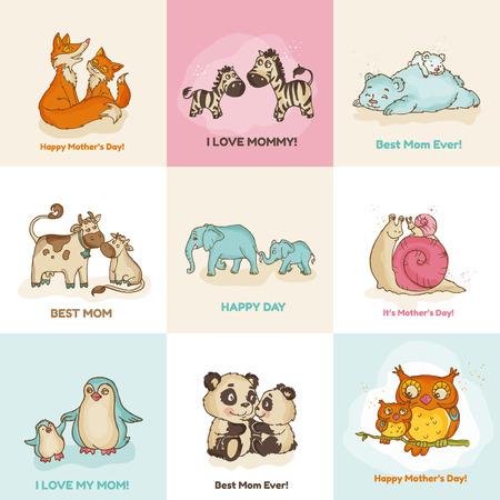 oso caricatura: Feliz Día de la Madre tarjetas - con animales divertidos Vectores