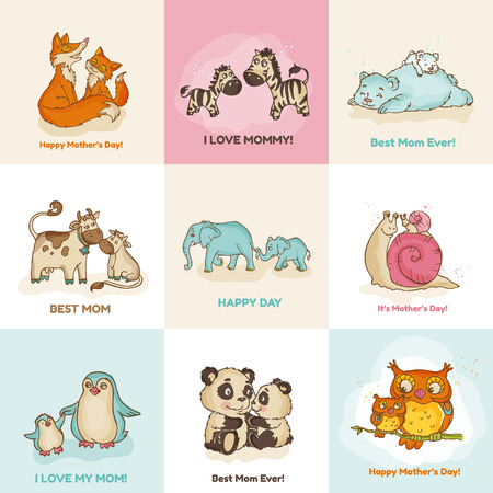 baby elephant: Happy Mothers Day Cards - with cute animals