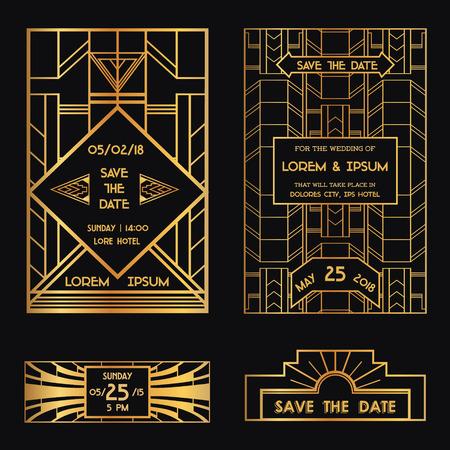 日付 - 結婚式の招待カード - アールデコのビンテージ スタイルを保存します。  イラスト・ベクター素材