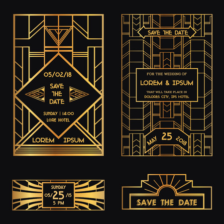 art deco border: Save the Date - Wedding Invitation Card - Art Deco Vintage Style  Illustration