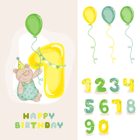 baby birthday: Baby Bear Birthday Card - with Editable Numbers - invitation, congratulation -  in vector