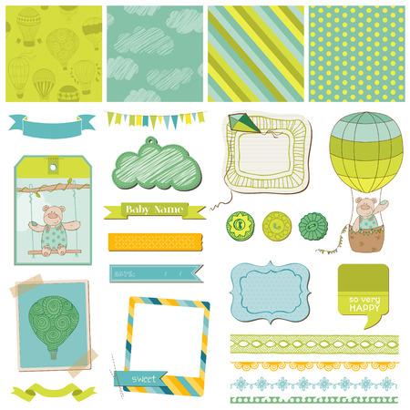 newborn: Scrapbook Design Elements - Baby Bear with Airballoon - in vector