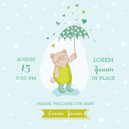 baby gift: Baby Arrival or Shower Card - Bear with Umbrella Illustration - in vector