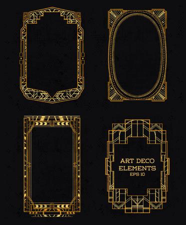 Art Deco Vintage �er�eveler ve Tasar?m �?eleri - Vekt�rdeki Çizim