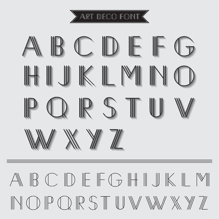 Art Deco Type Font, Vintage Typography - in vector