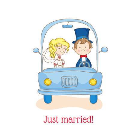 Wedding Invitation Card - Just Married Car Theme - in vector Vector