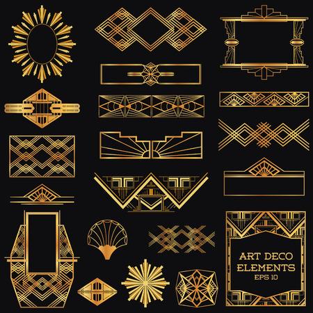 Art Deco Vintage Frames and Design Elements - in vector Vector