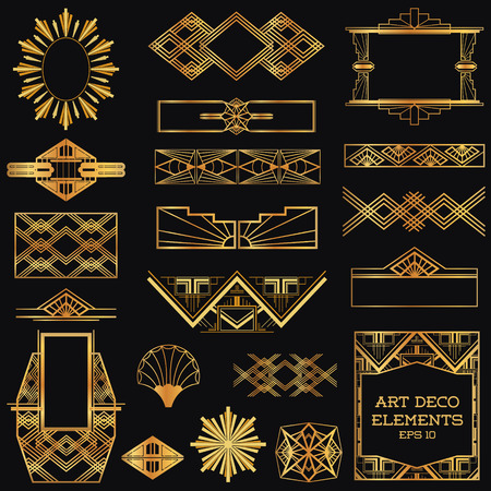 Art Deco Vintage r�my a konstruk?n� prvky - ve vektoru Ilustrace