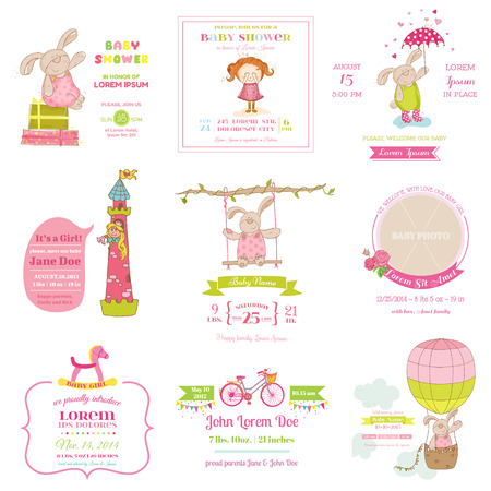 girl sleep: Set of Baby Shower and Arrival Cards - for design and scrapbook - in vector