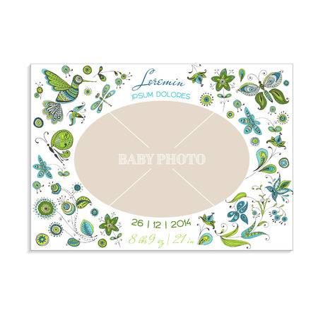 Baby Arrival Card with Photo Frame - Flowers and Butterflies - in vector Vector