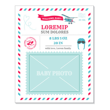 airplane: Baby Arrival Card - with Airplane Vintage Postcard and Photo Frame - in vector