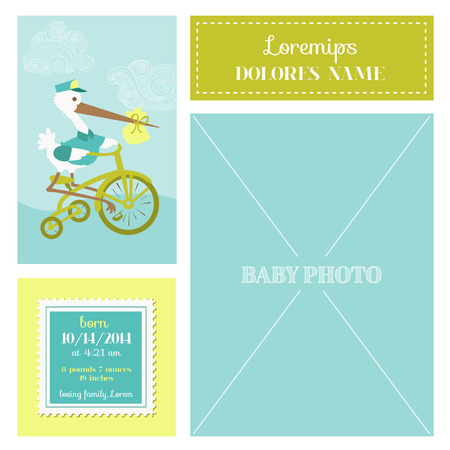 baby arrival: Baby Arrival Card - with Stork and Photo Frame- in vector Illustration