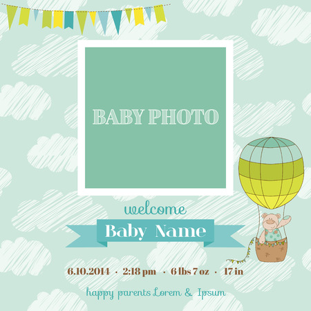 Baby Arrival Card with Photo Frame - Air Balloon and Cute Bear Theme -  in vector