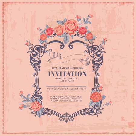 Vintage Card - with Retro Frame and FLowers - with place for your text - in vector Stock Vector - 27906950
