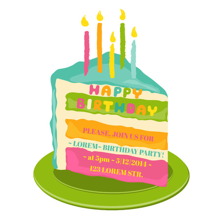 cake paper: Happy Birthday and Party Invitation Card - with place for your text
