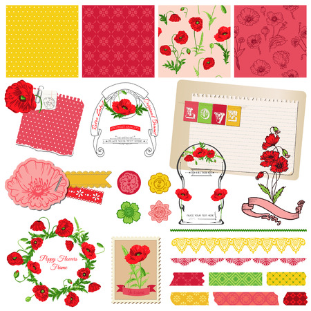 Scrapbook Design Elements - Poppy Flowers Theme  Vector