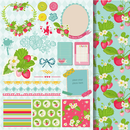Scrapbook Design Elements - Strawberry Shabby Chic Theme - in vector Vector