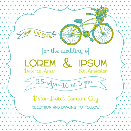 Wedding Invitation Card - Vintage Bicycle Theme - in vector Vector