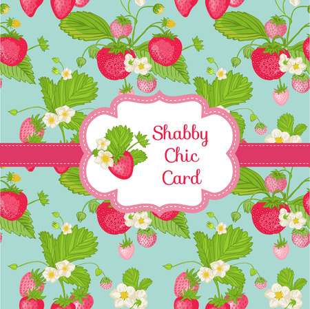 layout strawberry: Beautiful Card - Strawberry Shabby Chic Theme - with place for your text - in vector Illustration