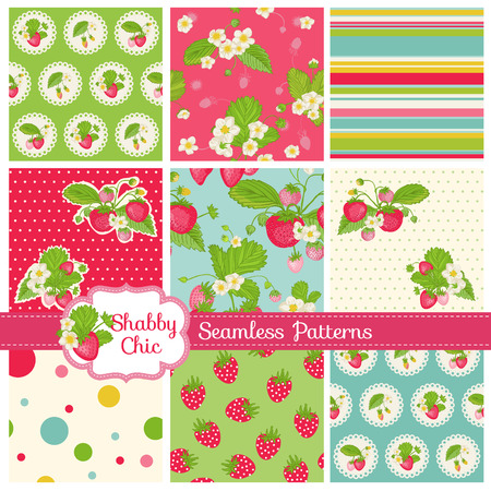 layout strawberry: Set of Seamless Patterns and Backgrounds - Strawberry Shabby Chic Theme - in vector