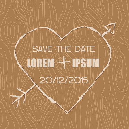 caligraphic: Wedding Invitation Card - Wooden Carved Heart Theme - in vector