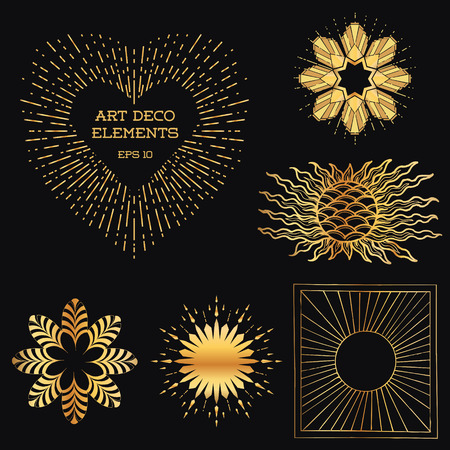 art deco border: Art Deco Vintage frames and design elements - Sun Burst - with place for your text - in vector Illustration