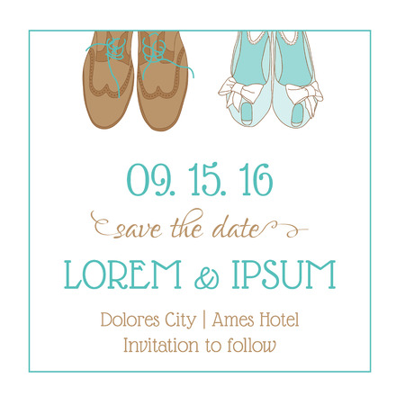 Wedding Invitation Card - with Wedding Shoes - Save the Date - in vector Vector