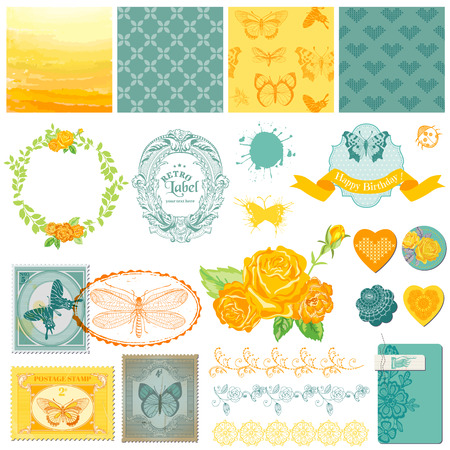 Scrapbook Design Elements - Vintage Ombre Butterflies - in vector Vector