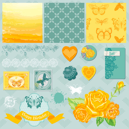 Scrapbook Design Elements - Ombre Butterflies Theme - in vector Vector