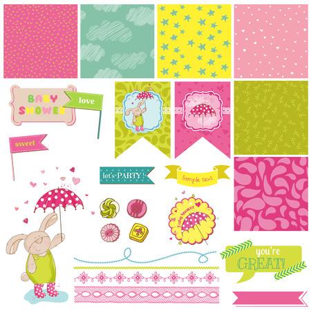 Baby Bunny Shower Theme - Scrapbook Design Elements - in vector