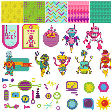 Funny Robots Theme - Scrapbook Design Elements - for party, decoration, birthday -  in vector Vector